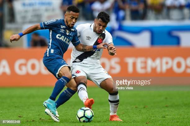 Rafinha of Cruzeiro and Andres Rios of Vasco da Gama battle for the ball during a match between Cruzeiro and Vasco da Gama as part of Brasileirao...