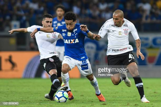 Rafinha of Cruzeiro and Emerson Sheik of Corinthians battle for the ball during a match between Cruzeiro and Corinthians as part of Copa do Brasil...