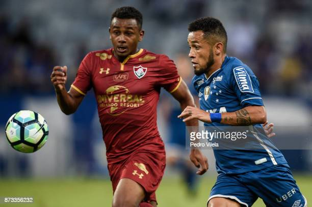 Rafinha of Cruzeiro and Wendel of Fluminense battle for the ball during a match between Cruzeiro and Fluminense as part of Brasileirao Series A 2017...
