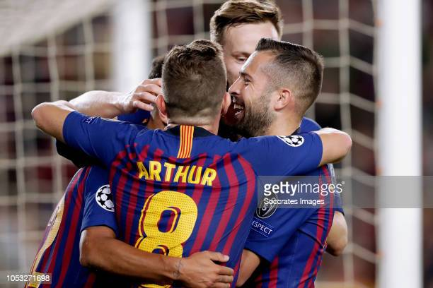 Rafinha of FC Barcelona celebrates 10 with Arthur of FC Barcelona Ivan Rakitic of FC Barcelona Jordi Alba of FC Barcelona during the UEFA Champions...