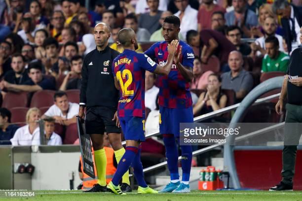 Rafinha of FC Barcelona, Junior Firpo of FC Barcelona during the La Liga Santander match between FC Barcelona v Real Betis Sevilla at the Camp Nou on...