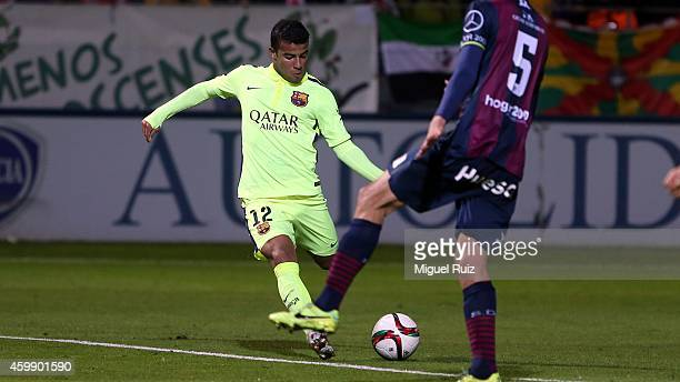 Rafinha of FC Barcelona kicks the ball during the Copa del Rey 1/16 first leg match between SD Huesca and FC Barcelona at El Alcoraz on December 3...