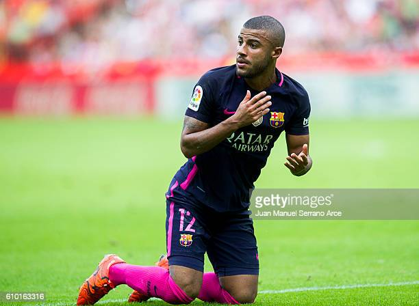 Rafinha of FC Barcelona reacts during the La Liga match between Real Sporting de Gijon and FC Barcelona at Estadio El Molinon on September 24 2016 in...