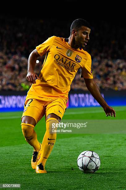 Rafinha of FC Barcelona runs with the ball during the UEFA Champions League quarter final first leg match between FC Barcelona and Club Atletico de...