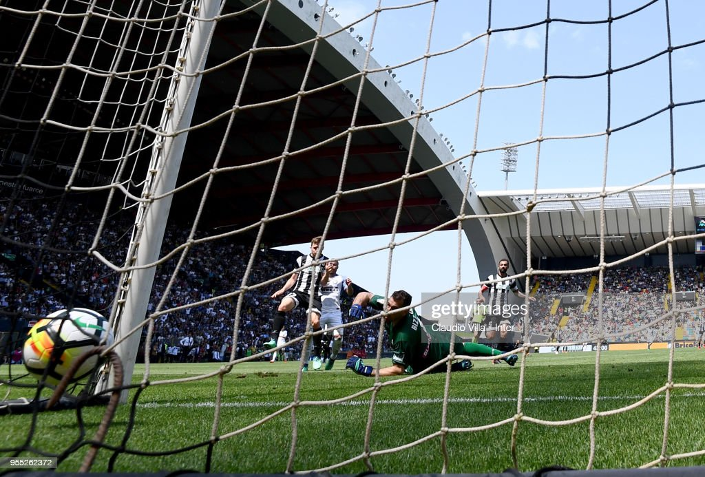 Rafinha of FC Internazionale scores the second goal during the serie A match between Udinese Calcio and FC Internazionale at Stadio Friuli on May 6, 2018 in Udine, Italy.