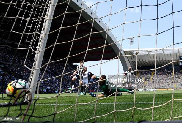Rafinha of FC Internazionale scores the second goal during the serie A match between Udinese Calcio and FC Internazionale at Stadio Friuli on May 6...