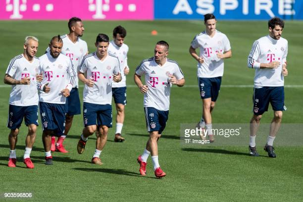 Rafinha of Muenchen Arturo Erasmo Vidal of Muenchen Jerome Boateng of Muenchen James Rodriguez of Muenchen Juan Bernat of Muenchen Franck Ribery of...