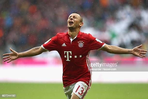 Rafinha of Muenchen celebrates scoring the 3rd team goal during the Bundesliga match between Bayern Muenchen and FC Ingolstadt 04 at Allianz Arena on...