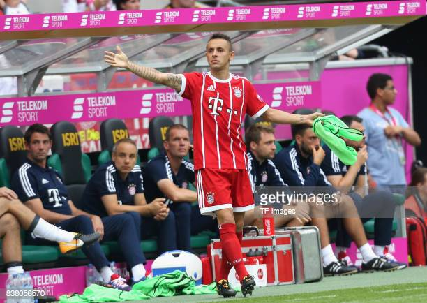 Rafinha of Muenchen gestures during the Telekom Cup 2017 Final between SV Werder Bremen and FC Bayern Muenchen at Borussia Park on July 15 2017 in...