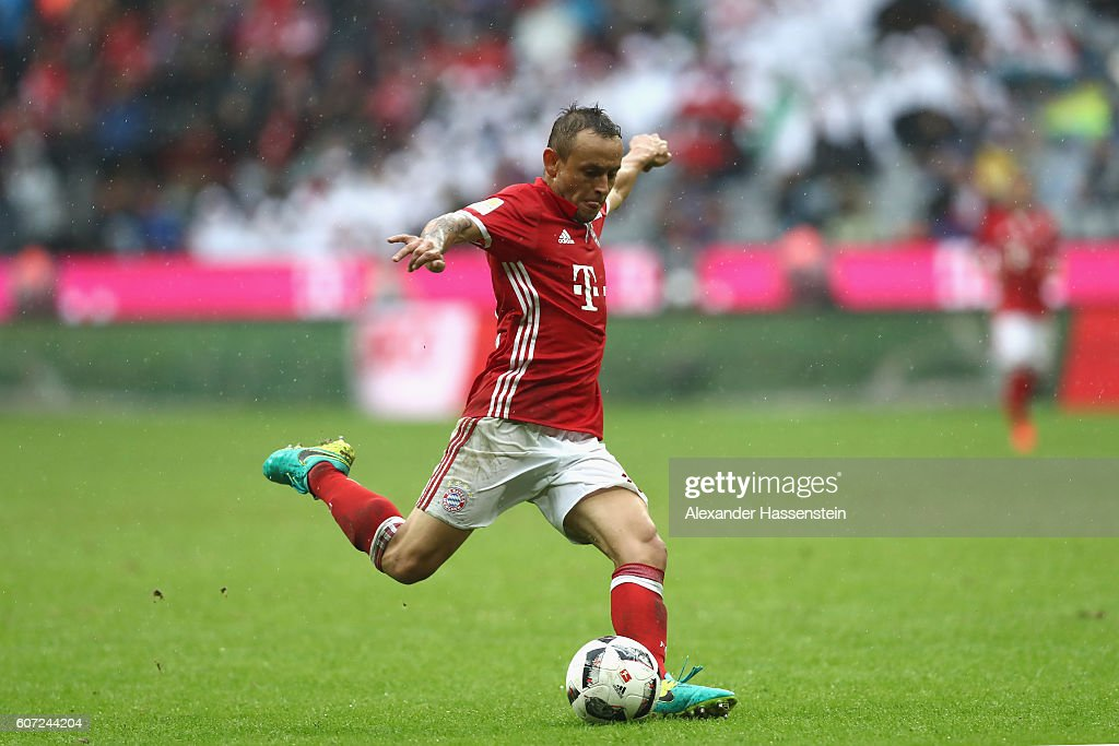 Rafinha of Muenchen scores the 3rd team goal during the Bundesliga match between Bayern Muenchen and FC Ingolstadt 04 at Allianz Arena on September 17, 2016 in Munich, Germany.