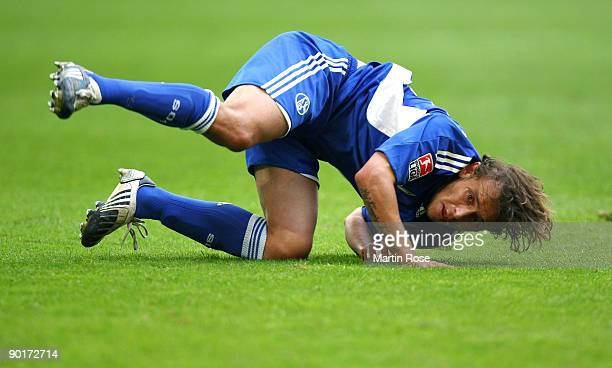 Rafinha of Schalke is pictured during the Bundesliga match between FC Schalke 04 and SC Freiburg at the Veltins Arena on August 29 2009 in...