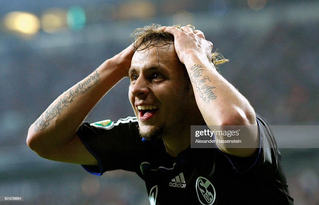 Rafinha of Schalke reacts during the DFB Cup round of 16 match between 1860 Muenchen and FC Schalke 04 at Allianz Arena on October 28, 2009 in Munich, Germany.