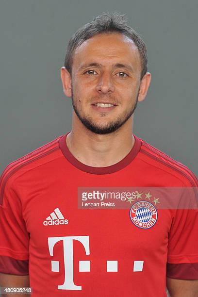Rafinha poses during the team presentation of FC Bayern Muenchen at Bayern's training ground Saebener Strasse on July 16 2015 in Munich Germany
