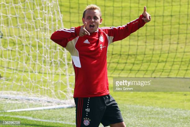 Rafinha reacts during a training session of Bayern Muenchen at the ASPIRE Academy for Sports Excellence on January 4 2012 in Doha Qatar