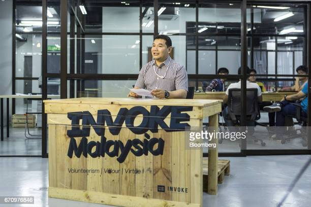 Rafizi Ramli vice president of the People's Justice Party speaks during a Facebook Inc live video stream at Invoke's office in Kuala Lumpur Malaysia...