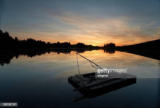 湖に浮かぶゴムボートでババリア,ドイツ