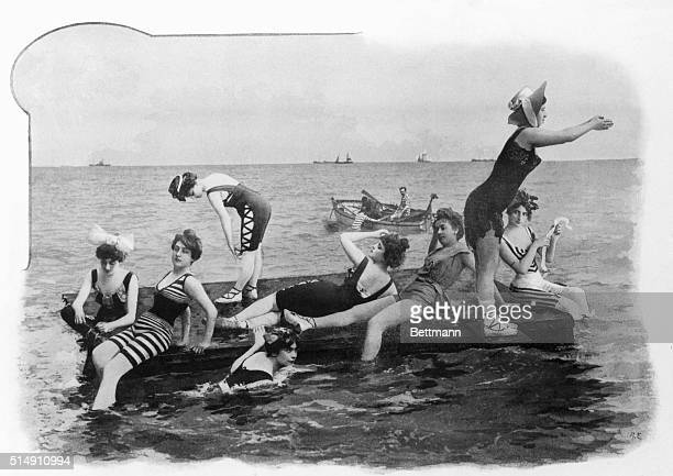 Raft full of bathing beauties, ca. 1900. French photograph.