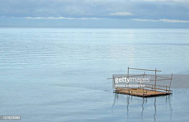 Raft in the Ocean in the Philippines