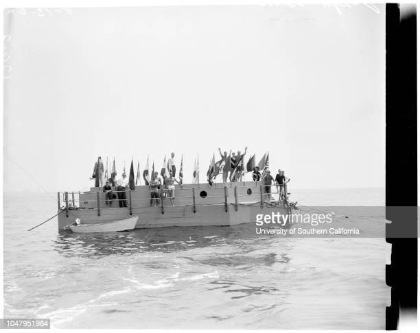 Raft Lehi V towed to Santa Monica August 13 1960 Captain Devere F BakerSue Lynn 19 years Mayor Wellman MillsCaption slip reads 'Photographer Olmo...