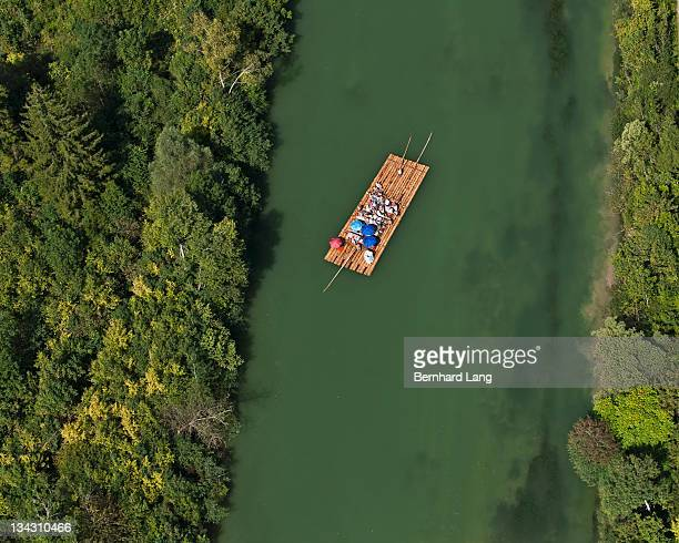 Raft on Isar River, aerial view