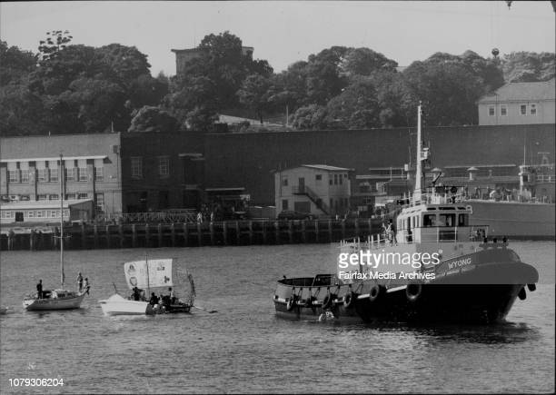 Raft The papyrus dow Roo Ral heads for Garden Island dockyard instead of Kirribilli Point on its maiden Harbour voyage today May 14 1981