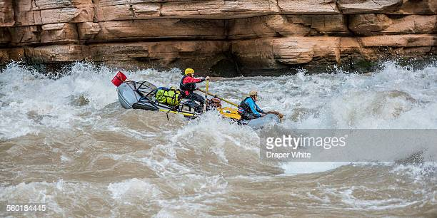 rafters in upset rapid. - inflatable raft stock pictures, royalty-free photos & images