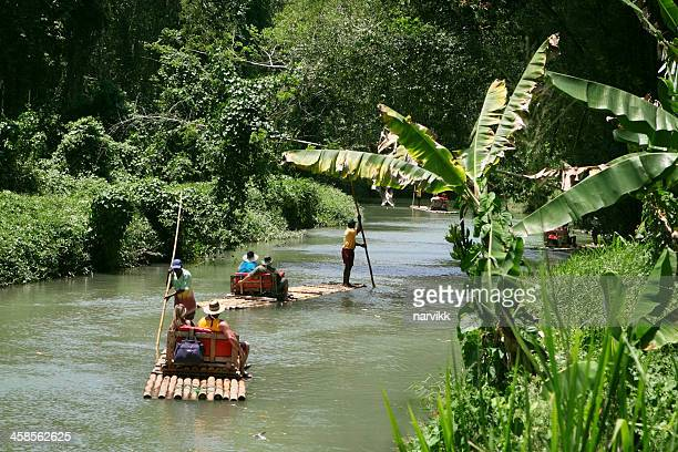 rafting at martha brae river - jamaica stock pictures, royalty-free photos & images