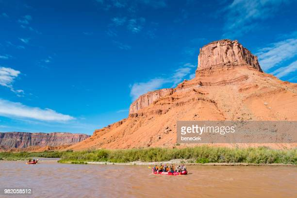 rafting in the colorado river near moab utah usa - utah stock pictures, royalty-free photos & images