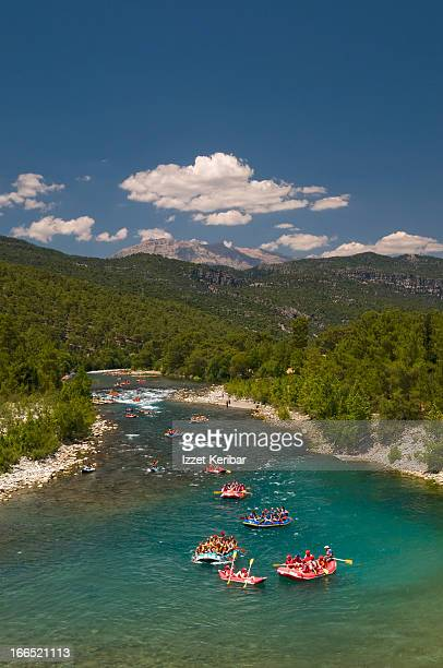 rafting on aquamarine river in koprulu canyon - turkey middle east stock pictures, royalty-free photos & images