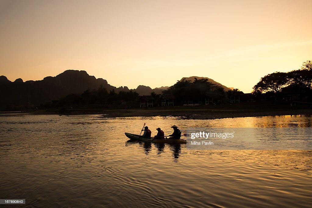 Rafting on Nam Song river in Vang Vieng : Stock Photo