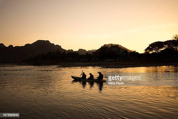 Rafting on Nam Song river in Vang Vieng