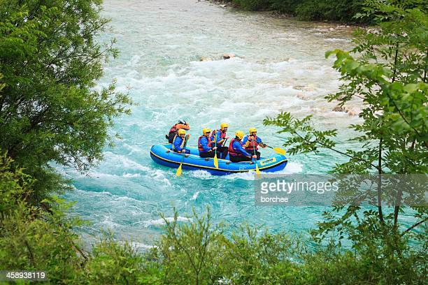 rafting on soca river - rafting stock pictures, royalty-free photos & images