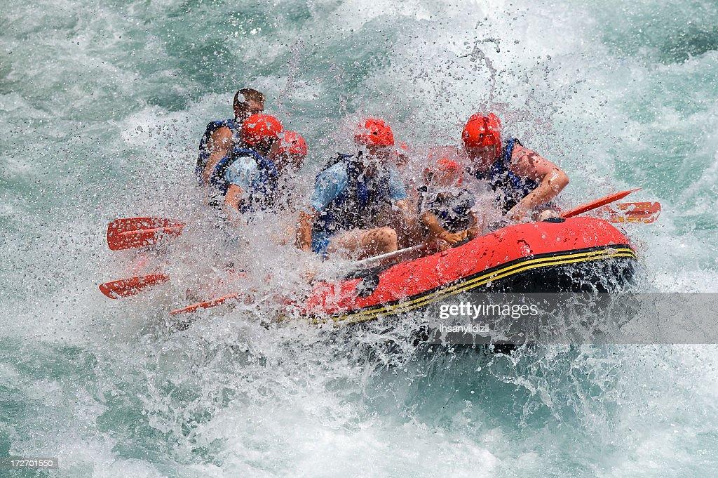 Rafting on White Water : Stock Photo