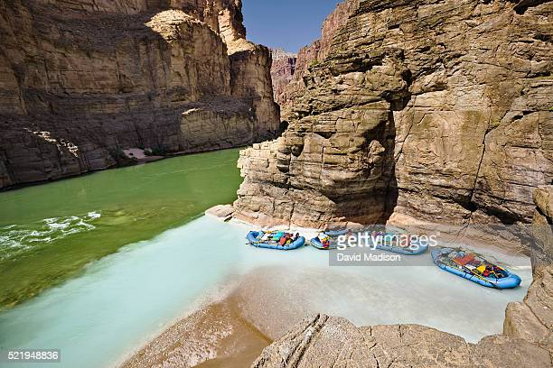 rafts moored at the confluence of havasu creek and the colorado river in grand canyon national park - havasu creek stock photos and pictures