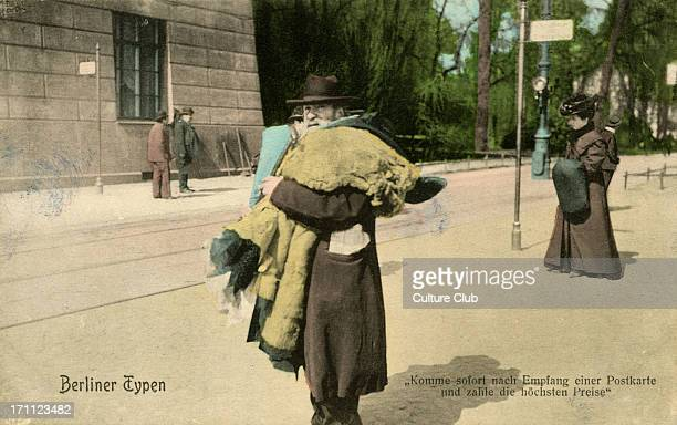 Rag and bone man in Berlin Germany late 19th / early 20th century Also known as alte sachen or second hand clothes seller Caption reads 'Komme sofort...