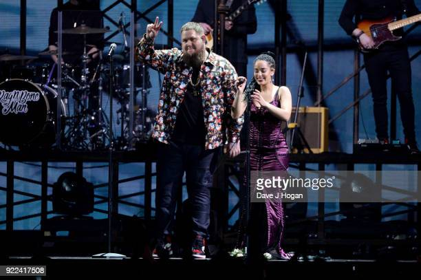 AWARDS 2018 *** Rag ÕnÕ Bone Man and Jorja Smith perform on stage at The BRIT Awards 2018 held at The O2 Arena on February 21 2018 in London England