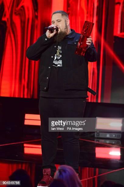 Rag N Bone man presents the Critics Choice award to Jorja at the Brit Awards 2018 Nominations event held at ITV Studios on Southbank London