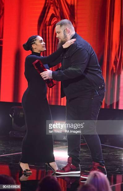 Rag N Bone man presents the Critics Choice award to Jorja Smith at the Brit Awards 2018 Nominations event held at ITV Studios on Southbank London