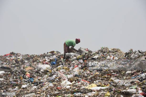 Rag picker searches for usable items from a mountain formed by garbage at a landfill site ahead of the World Environment Day, at Okhla on June 4,...