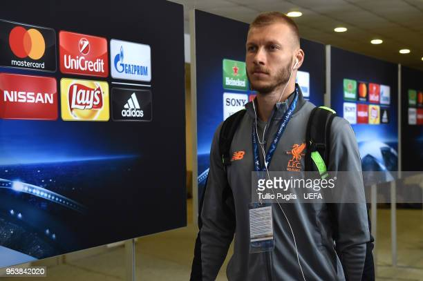 Ragan Klavan of Liverpool arrives before the UEFA Champions League Semi Final Second Leg match between AS Roma and Liverpool at Stadio Olimpico on...