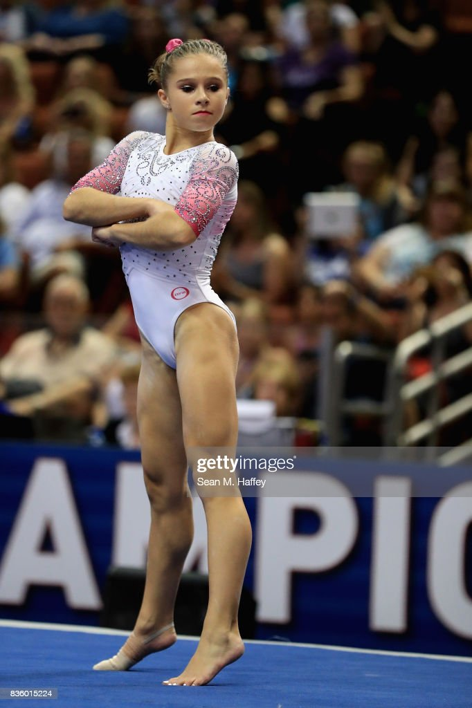 Ragan Smith competes in the Floor Exercise during the P&G Gymnastics Championships at Honda Center on August 20, 2017 in Anaheim, California.