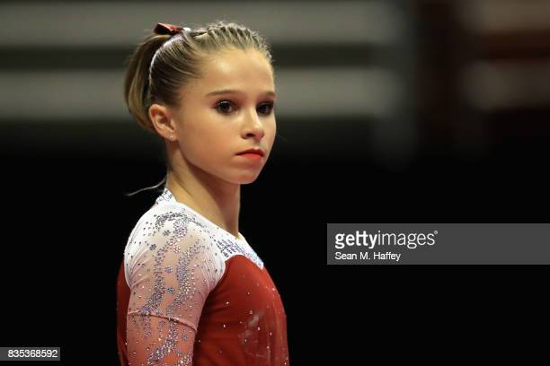 Ragan Smith looks on prior to competing in the vault during the PG Gymnastics Championships at Honda Center on August 18 2017 in Anaheim California