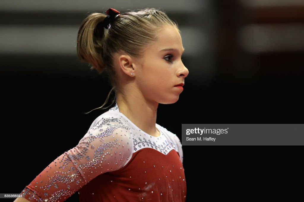 Ragan Smith looks on prior to competing in the vault during the P&G Gymnastics Championships at Honda Center on August 18, 2017 in Anaheim, California.