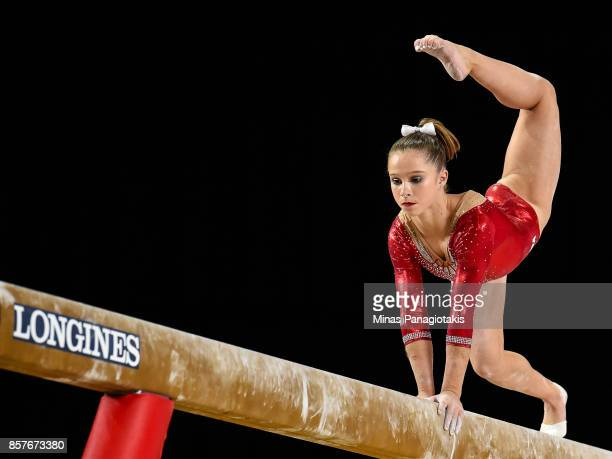 Ragan Smith of the US competes on the balance beam during the qualification round of the Artistic Gymnastics World Championships on October 4 2017 at...