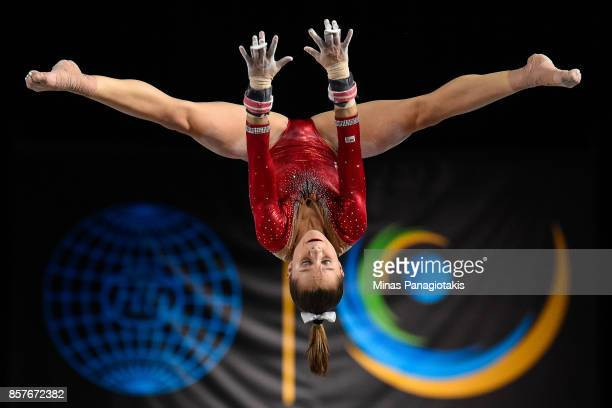 Ragan Smith of the US competes on the uneven bars during the qualification round of the Artistic Gymnastics World Championships on October 4 2017 at...