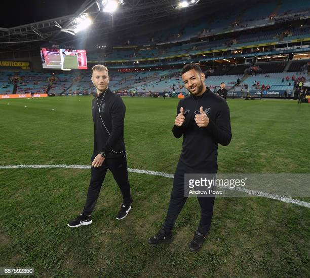 Raganr Klavan and Kevin Stewart of Liverpool checks out the pitch before the International Friendly match between Sydney FC and Liverpool FC at ANZ...