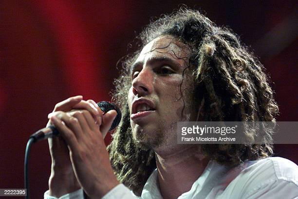 Rage Against the Machine frontman Zack de la Rocha performs on the east stage Saturday at Woodstock '99 in Rome New York at Griffiss AFB Park for the...