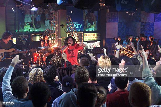 Rage Against the Machine singer Zach de la Rocha during a performance at the MTV Times Square studio in New York City