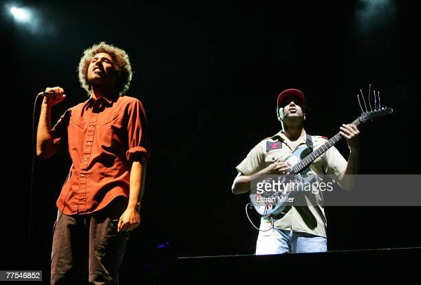 Rage Against the Machine singer Zack de la Rocha and Tom Morello perform during the Vegoose music festival at Sam Boyd Stadium's Star Nursery Field...