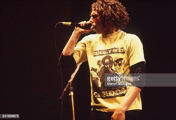 Rage Against The Machine singer Zack De La Rocha performs on stage at Brixton Academy London United Kingdom 1993